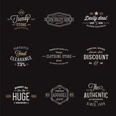 Retro Typography Abstract Vector Discount and Sale Label Set — Vector de stock