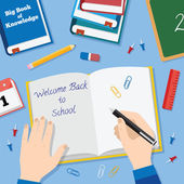 Back to School Flat Style Vector Background With Books Pencils Pen and Other Stationary — Stock vektor