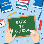 Back to School Flat Style Vector Background With Chalk Blackboard Pins Clips Pen Pencil and Books — Stock vektor