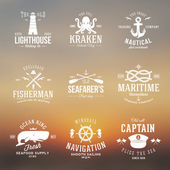 Set of Vintage Nautical Labels or Signs With Retro Typography on Blured Background Anchors Steering Wheel Knots Seagulls and Wale — Stock Vector
