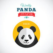 Weekly Panda Cute Flat Animal Icon - Winking — Stock Vector