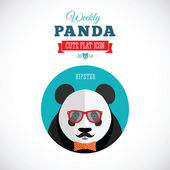 Weekly Panda Cute Flat Animal Icon - Hipster — Stock Vector