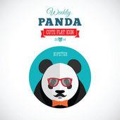 Weekly Panda Cute Flat Animal Icon - Hipster — Stock Vector