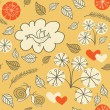 Seamless floral pattern with a bird flying and hearts — Stok Vektör #41052387