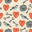 Valentine seamless pattern with keys, hearts and birds — Stock Vector