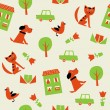 Seamless pattern with cats, dogs, birds, houses, trees and cars — Stock Vector