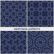 Set of four different abstract seamless patterns — Stock Vector