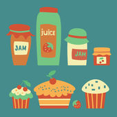 Set of juice, jam and cakes — Stockvector