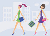 Two women walking with bags in the street — Stock Vector
