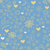 Seamless pattern with flowers and hearts — Stock Vector