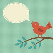 A bird with a speech bubble — Stock Vector