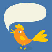 A bird with a speech bubble — Stock Vector