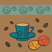 Koffiekopje en koekjes — Stockvector