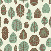 Cute seamless pattern with various trees — Stock Vector