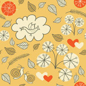 Seamless floral pattern with a bird flying and hearts — Stok Vektör