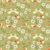 Seamless floral pattern with hares and snails — Stock Vector