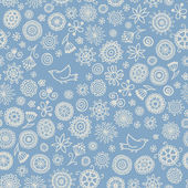 Seamless floral pattern with flying birds — ストックベクタ