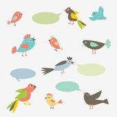 Speaking birds with speech bubbles — Stock Vector