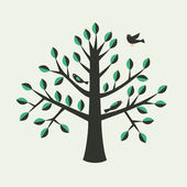 Tree and bird. Vector — Stok Vektör