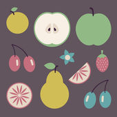 Set of fruits, whole and sliced, healthy vegetarian food — Stock Vector
