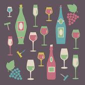 набор красочных бокалов и бутылок — Cтоковый вектор