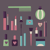 Set of makeup objects — Stock Vector