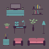 Set of icons for living room — Stock vektor