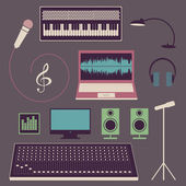 Objects of musical studio — Stock Vector