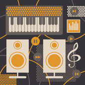 Collage with objects of musical studio — Stock Vector