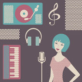 Young female singer with a microphone in studio — Stock Vector