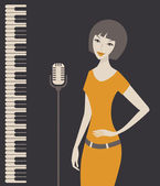 Female singer with microphone stand and piano keyboard — Stock Vector