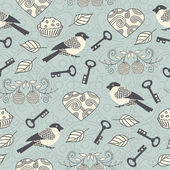 Romantic seamless pattern with hearts, keys and birds — Stockvector