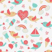 鸟儿与心中的浪漫无缝模式 — 图库矢量图片