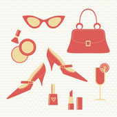 Vintage fashion set - women's accessories — Stock Vector