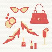 Vintage fashion set - women's accessories — Stock Vector