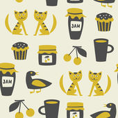 Seamless pattern with cats, birds, cups, cakes, jam jars, cherries — Stock Vector