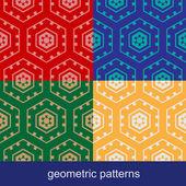 Set of four geometric seamless patterns — ストックベクタ