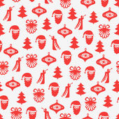 Seamless background with Santa Claus, Angels, Christmas trees and decorations — Stock Vector