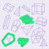 Hand gezeichnete skizze auf quadratischen notizpapier — Stockvektor