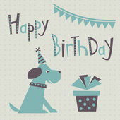Happy birthday greeting card with cute dog — Stock Vector