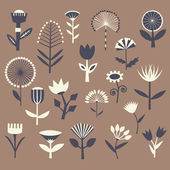 Hand drawn vintage floral elements — Stock Vector