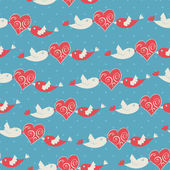 Romantic pattern with birds and hearts — Stock Vector