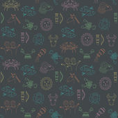 Abstract geometric seamless pattern with horoscope symbols. — Stockvektor