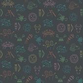 Abstract geometric seamless pattern with horoscope symbols. — ストックベクタ