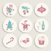 Set of Christmas icons — Stok Vektör