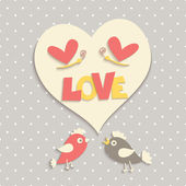 Cute birds in love. — Vector de stock