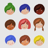 Kids Faces Set. — Stock Vector