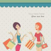 Dos mujeres con bolsas de compras. — Vector de stock