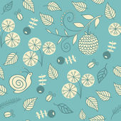 Seamless pattern with flowers, berries and snails. — Stock Vector