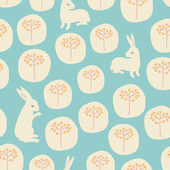 Seamless pattern with flowers and rabbits — Stock Vector